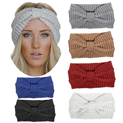 HBF 6 stk Kopfband aus Stirck Haarband Häkelarbeit Schleifeformig Stirnband Winter und Frühling