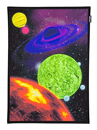 PSYWORK Schwarzlicht Stoffposter Neon Space Journey One, 0,5x0,7m