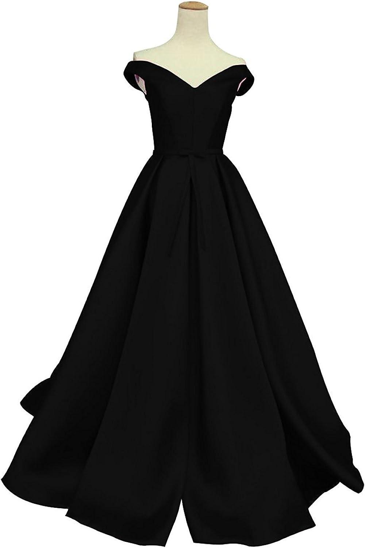 Ellystar Women's ALine Satin Long Off The Shoulder Laceup Formal Party Dresses