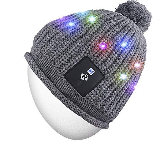 Rotibox LED-Lichterkette, Strickmütze mit Kupferdraht, bunte Lichter, 18 LEDs, für Herren und Damen, für drinnen und draußen, Festival, Urlaub, Feier, Partys, Bar, Grau