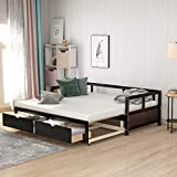 Daybed with Trundle and Drawers, Twin Size Trundle Daybed Solid Wood,No Box Spring Needed