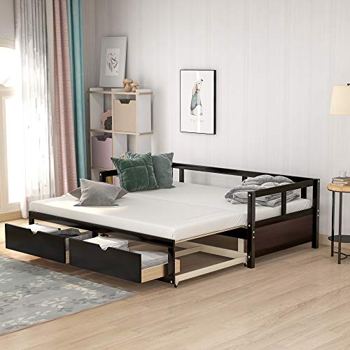 Merax Wooden Daybed Extendable Bed with Trundle Bed and Two Storage Drawers, Sofa Bed for Bedroom Living Room, Espresso