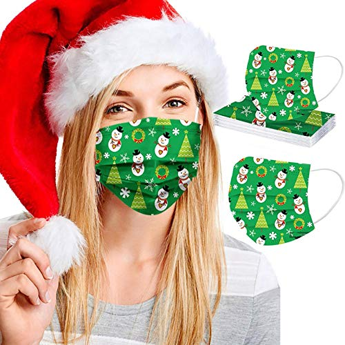 3Ply Disposable Face_Mask for Women Men Dustproof Face Bandanas with Elastic Earloops for Adults in/Outdoor Daily Use