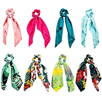Pañuelos para el Pelo, Comius 8 Pcs Pañuelo para el cabello Scrunchies Bandas Elásticos Del Pelo Multi Patron Bufanda Cuello Accesorios Pelo Mujer Chica (A)