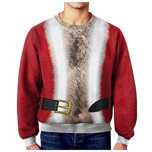 Unisexe Ugly Christmas Sweater Pull de Noël Pullover Jumper 3D Muscle Style Créatif Graffiti Imprimé Xmas Graphique Pull Moche Noël Manches Longues Humour Sweatshirts pour Hommes Femmes S-XXXL
