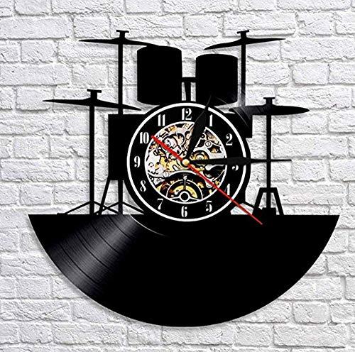 JJYM wandklok vinyl wandklok trommel geluidsplaat wandklok muziek band trommel instrument drumstel decoratie wandklok