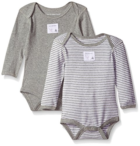 Burt's Bees Baby Unisex Baby, 2-Pack Long Sleeve & Short Sleeve One-Piece Bodysuits, Organic Cotton, Grey/Stripes, 6-9 Months