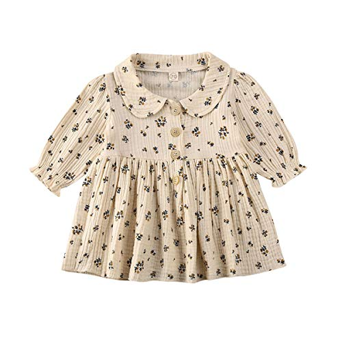 Toddler Baby Girl Long Sleeve Dresses 2T 3T 4T Newborn Infant Cotton Linen Casual Playwear Outfits Clothes (A-Floral, 18-24Months)