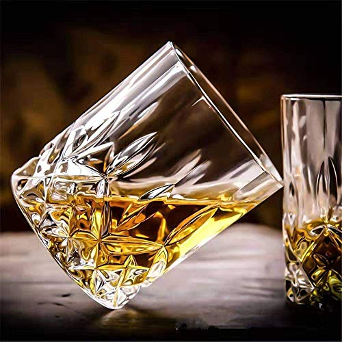 COOZICO Crystal Glass Whiskey Glass, Scotch Glasses Set of 6 (Lead-Free, Clear, 320ML)(Large)