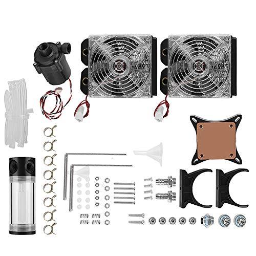 Waterkoelset, DIY Desktop PC Waterkoelset, Waterpomp Tankkoelset met Radiator + GPU water + pomp + Dubbele LED-ventilator voor doe-het-zelfventilatoren.