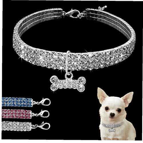 Collar De Perro, Collar De Perro del Rhinestone De Bling del Collar del Perro De Perrito del Animal Doméstico De Cristal Collares De Perro del Correo