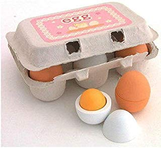 DecentGadget 6 Wooden Play Eggs in Carton Pretend Play Pre-school Educational Toy Kitchen Food Toy by DecentGadget