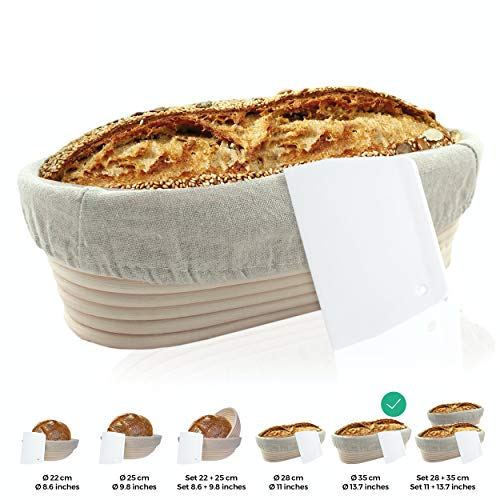 Gärkörbchen + Teigschaber – Der ideale Gärkorb aus natürlichem Peddigrohr (oval, 35 cm) – mit Leineneinsatz, rostfrei geklammert