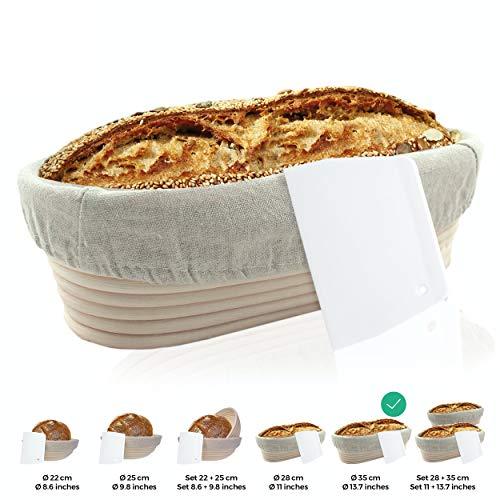 riijk Gärkörbchen + Teigschaber – Der ideale Gärkorb aus natürlichem Peddigrohr (oval, 35 cm) – mit Leineneinsatz, rostfrei geklammert