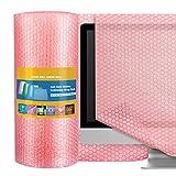 Switory Involucro per bolle da 40,7cm x 11m per trasloco, rotoli di bolle con 10 adesivi extra fragili, para empacar suministros de mudanza-rosa