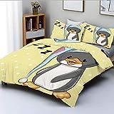 Juego de Funda nórdica, Sleepy Baby Penguin in Hood Ready to Bed Childhood Happy Dream Cartoon ArtDecorative Juego de Cama de 3 Piezas con 2 Fundas de Almohada, Amarillo Gris Blanco, p
