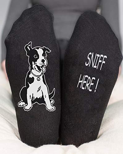 Sniff Here ! Socks Ankle Black & White