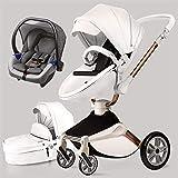 Poussette combinée 3 en 1 avec poussette et nacelle 2020 nouvelle Poussette rotative 360 Haute paysage attaches en cuir PU suspension roues en PU siège bébé supplémentaire achetable-Gris