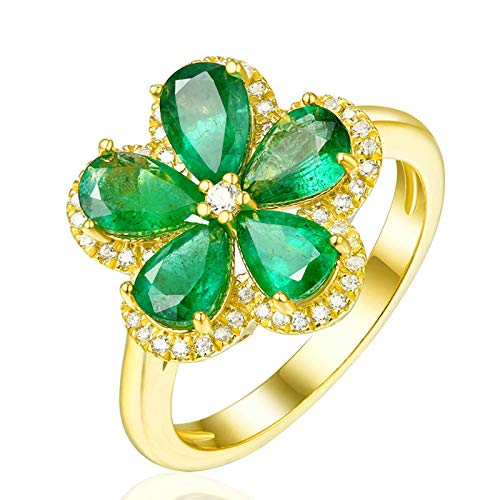 Aeici Ring Gold for Women 18K,Flower Ring with Pear Emerald and Diamond Rings for Women Engagement Size N 1/2 Yellow Gold