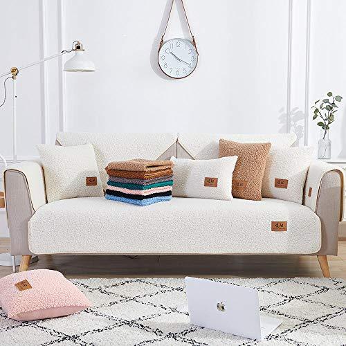 Homeen - Copridivano decorativo per divano e divano in pelle, resistente all'usura, 70 x 180 cm, colore: Bianco