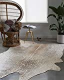 Loloi II Bryce Collection Faux Cowhide Area Rug, 5' x 6'6', Pewter/Gold