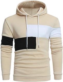 FSSE Men's Color Block Casual Hooded Loose Athletic Long Sleeve Pullover Sweatshirt
