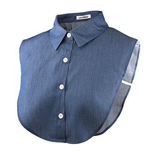 Wearlizer Frauen Kragen Abnehmbare Hälfte Shirt Bluse in Baumwolle Weiß/Schwarz/Jeans, Jeans, Einheitsgröße