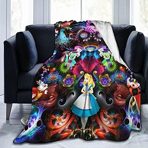 TECHSOURCE Alice in Wonderland Ultra-Soft Micro Fleece Blanket Flannel Throw Blanket Fleece Blankets All Season Light Weight Warm Blanket for Couch Sofa Bed,50'X40'