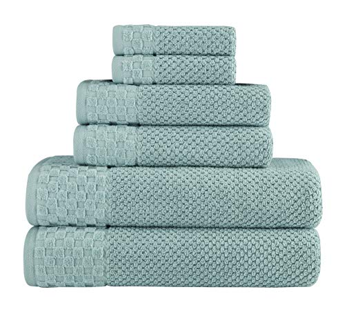 Classic Turkish Towels Luxury 6 Piece Cotton Bath Towel Set - Jacquard Woven Soft Textured Seagrass Towels Made with 100% Turkish Cotton