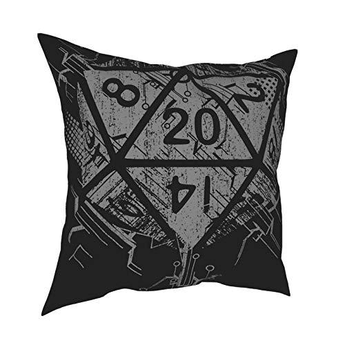 Fantasy D20 Dice - Fundas de almohada (45,7 x 45,7 cm), diseño de dados cuadrados y decorativos, para sofá, cama, coche