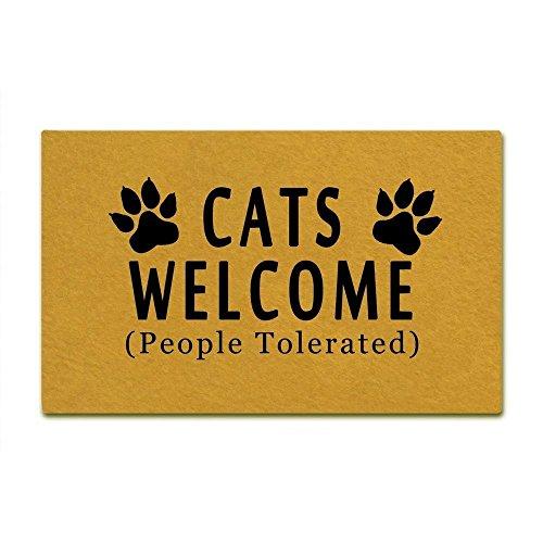 Paillasson humoristique avec inscription « Welcome People Tolerated » pour intérieur/extérieur, antidérapant, lavable en machine, 76,2 x 45,7 cm