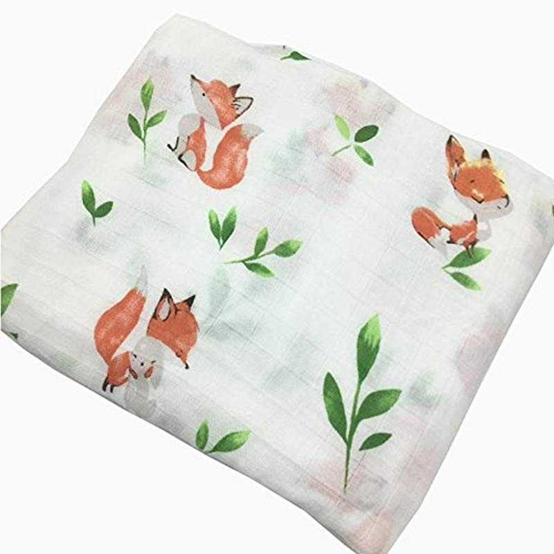HGHG Baby Muslin Swaddle Blanket Your Receiving Blanket Fox And Leaves Print 47inches Nice Squirrel