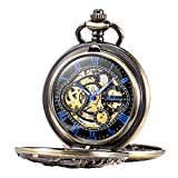 Treeweto Antique Bronze Dragon Mechanical Skeleton Pocket Watch with Chain