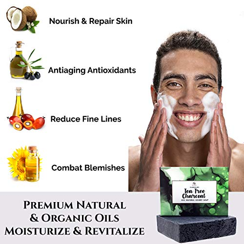 Tea Tree Oil Soap Bar -Tea Tree Oil Soap Bar- Deep Cleansing Face & Body Wash. Powerful Soap w/Peppermint Oil & Activated Charcoal.Organic Essential Oils Wakes Up Dull Skin! Great Face or Body Cleanser For Men,Women & Teens