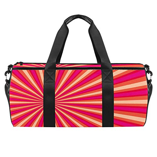 Bolsa de deporte color rosa con bolsillo mojado, bolsa de viaje cilíndrica, bolsa de entrenamiento ligera de viaje con correa para el hombro para hombres y mujeres
