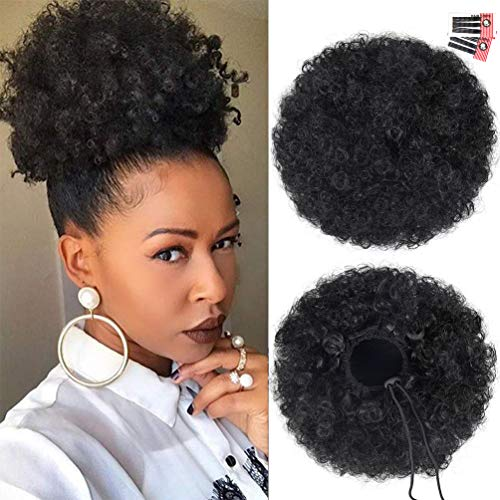 Afro Puff Drawstring Ponytail Extension for Black Women, Premium Black 1B# 80gram Short Synthetic Afro Puff Ponytail for Natural Hair, Clip On Kinky Drawstring Curly Ponytail Bun