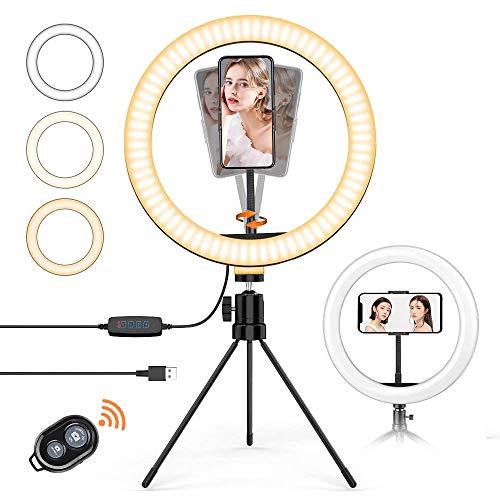 Aro de Luz, 10 Inch LED Dimmable Anillo de Luz Led con trípode y Control Remoto Bluetooth 3 Modos de iluminación y 10 Niveles de Brillo para teléfono Inteligente, fotografía, Youtube, Maquilla