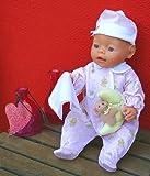 Strampler mit Spielmond Schmusetuch für Baby Chou Chou (42 cm) rosa/weiß