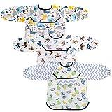 Ballery Baberos con Mangas Bebe, 3 Piezas Babero Manga Larga Baberos Bebe Impermeables Baberos con Goma en el Cuello Babis para Niños con Bolsillo Delantero por 6-36 Meses Niños Comiendo y Jugando