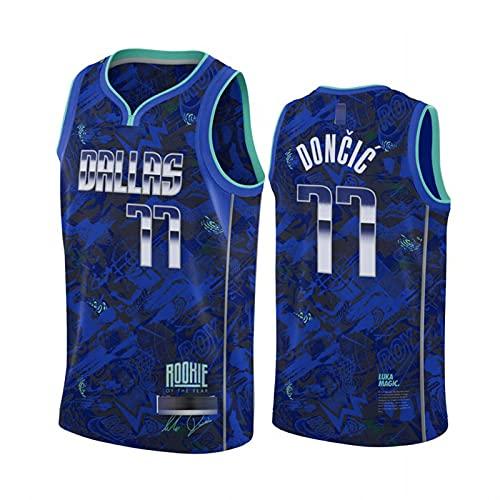 XXJJ Camiseta de baloncesto Luca Doncic # 77, Mavericks para hombre, sin mangas, informal, de secado rápido, color azul ~ A-S
