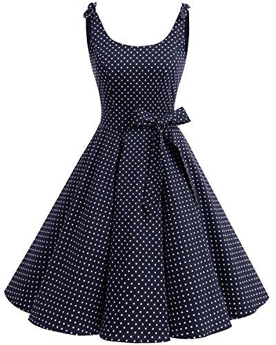 Bbonlinedress 1950er Vintage Polka Dots Pinup Retro Rockabilly Kleid Cocktailkleider Navy White Dot S