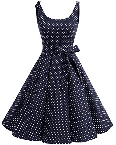 Bbonlinedress 1950er Vintage Polka Dots Pinup Retro Rockabilly Kleid Cocktailkleider Navy White Dot M