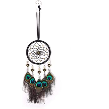 Rooh Dream Catcher Peacock ~ Handmade Hangings for Positivity green Used as Home D/Ãcor Accents, Wall Hangings, Garden, Car, Outdoor, Bedroom, Key chain, Meditation Room, Windchime DC07PC
