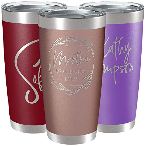 Personalized Tumblers, Stainless Steel 20 oz Tumbler w/Lid | 13 Designs | Personalized Cups Double Walled Insulated Coffee Cup for Travel, Work, Gym,...