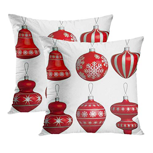 Y·JIANG Red Cushion Cover, Silver Christmas Balls of Realistic Abstract Bauble Beads Bubble Soft Velvet Square Cushion Case Couch Cover Pillowcase for Sofa Chair Bedroom, 18 X 18 Inch, Set of 2