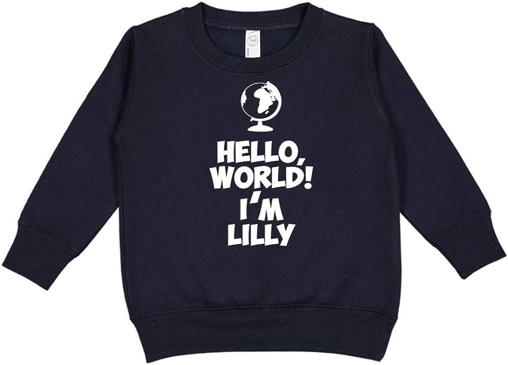 Personalized Name Toddler//Kids Sweatshirt Mashed Clothing Hello World Im Lilly