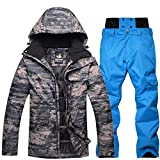 mingliang Costume De Ski De Camouflage Extérieur pour Hommes, Vêtements De Snowboard Imperméable Chaud Épaissir Veste De Ski Pantalon Ensemble B Blue-L