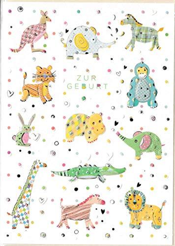 Glückwunschkarte zur Geburt - hochwertige Umschlag-Karten von Turnowsky, verschiedene Motive (Dschungel-Tiere)