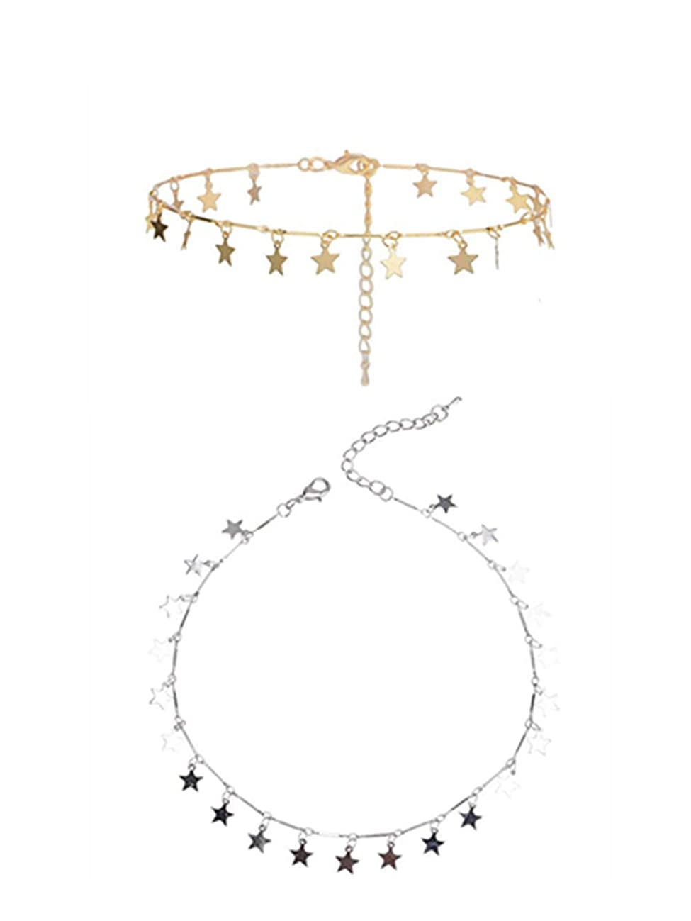 Sophie Land (2 Pieces Silver and Golden Lucky Star Choker Necklace Pendant Disc Chain Statement Necklace for Women Girls