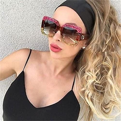 ShZyywrl Gafas De Sol De Moda Unisex Gafas De Sol De Gran Tamaño Big Square Pink Gold Frame Bling Shades Gafas De Sol De Plástico para Hombre Únicas Uv400 Cute